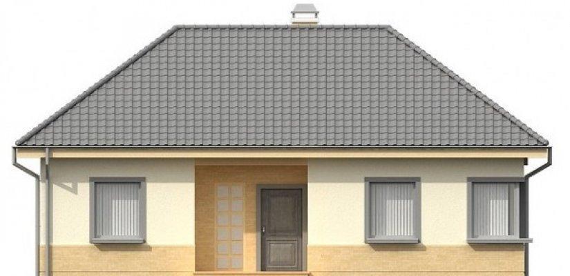 Ein Einstöckiges Haus Mit Einer L Förmigen Terrasse. Ideal Für Eine Kleine  Familie. Unter Dem Dach Walmdächer Sind Und Eingang Sowie Eine Terrasse Auf  Der ...