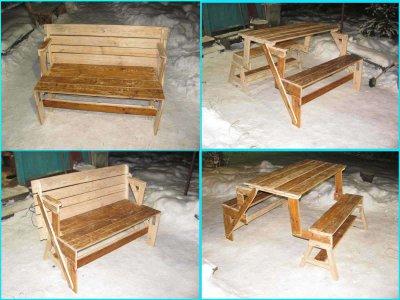 Деревянная скамейка-трансформер для беседки