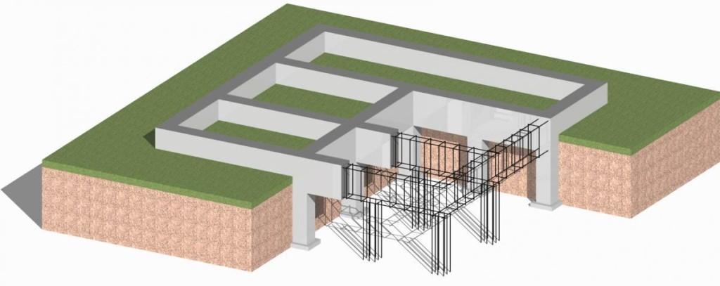 Схема установки столбчато-ленточного фундамента