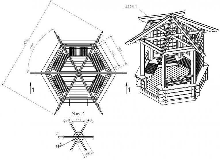 Беседка из поликарбоната чертежи шестигранной конструкции