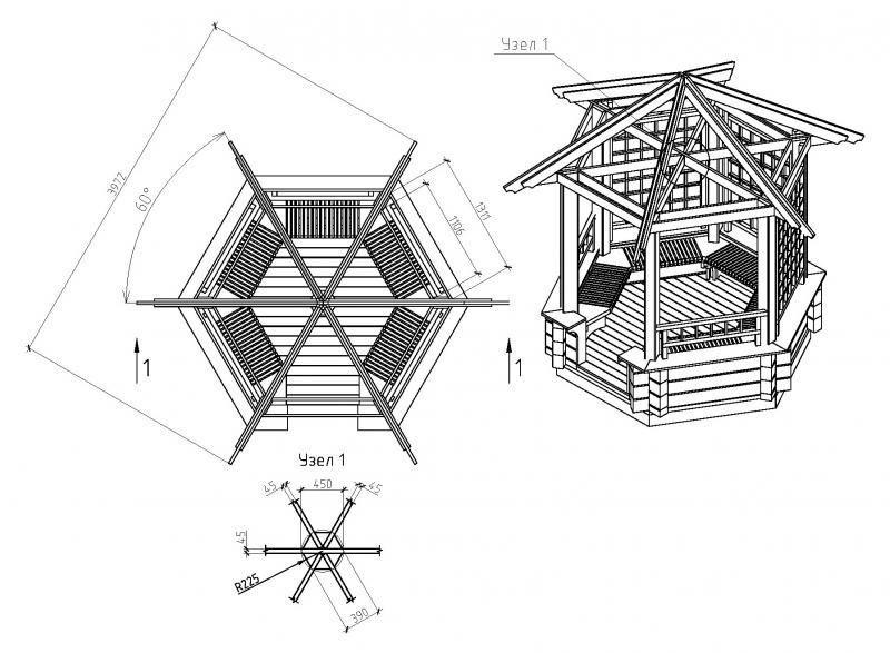 6 гранные беседки: крыша