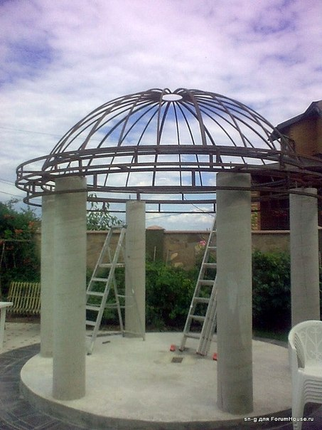 Металлический купол для ротонды