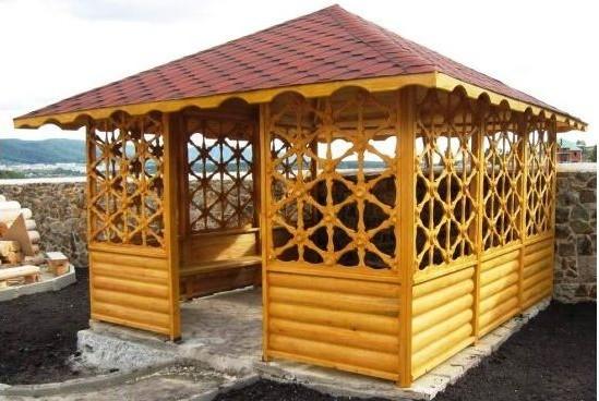 Беседка прямоугольная деревянная