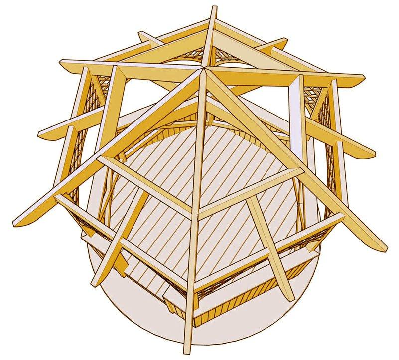 Каркас шестиугольной крыши