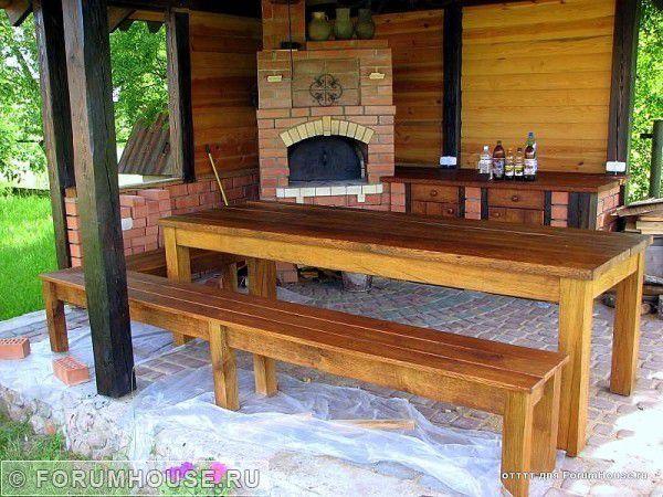 Мебель из дерева для беседки