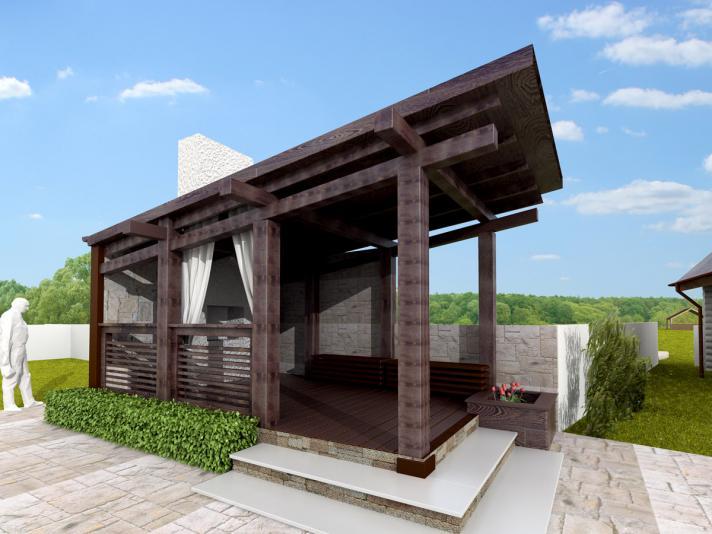 Пример современного варианта стиля фахверк с односкатной крышей
