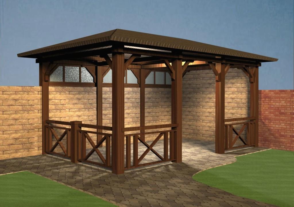 Наиболее оптимальным вариантом сооружения считается беседка с мангалом проект, которой разработан из нескольких видов материалов