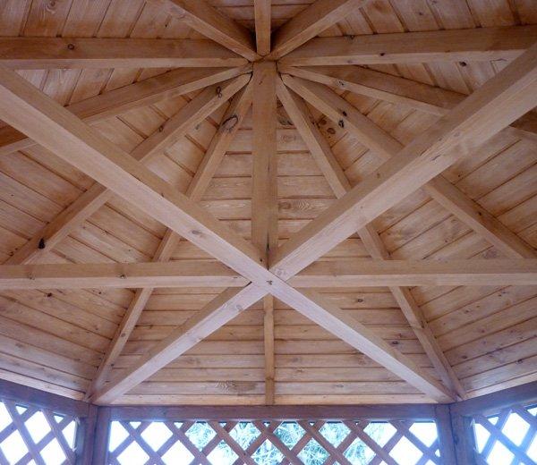 Пример устройства каркаса крыши шестигранной беседки
