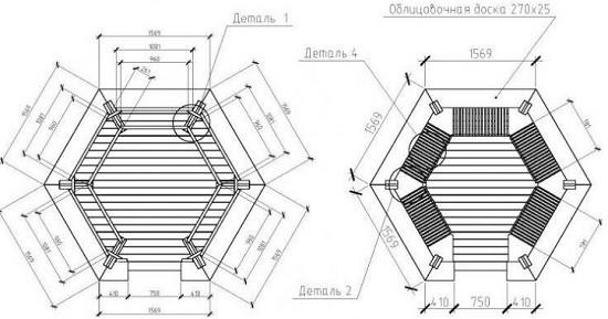 Схема устройства шестигранной крыши