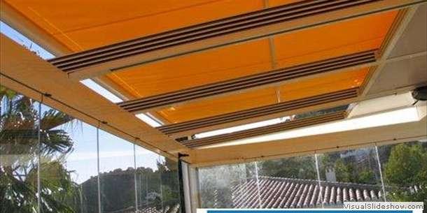 Раздвижная крыша на террасе