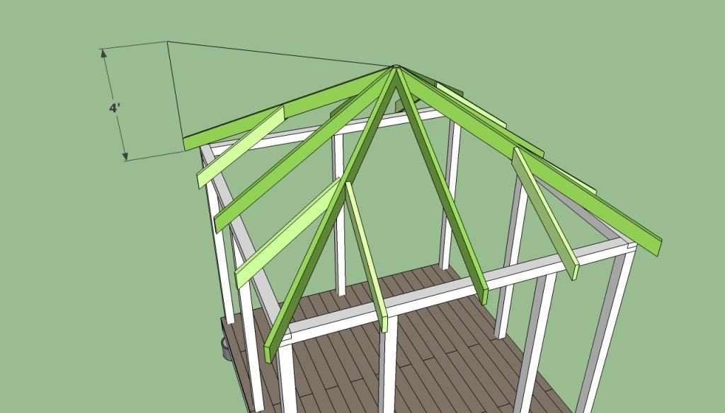 Каркас крыши в форме четырёхгранной пирамиды