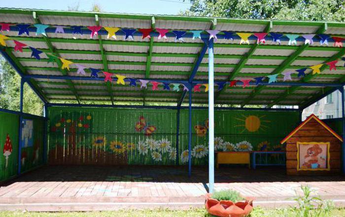 Оформление веранды в детском саду