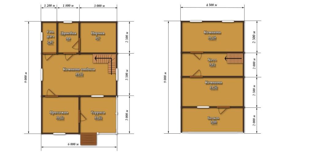 Баня в двух уровнях площадью 54м2: план помещений
