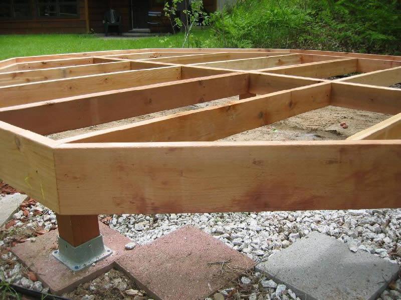 Деревянный каркас под террасу, опираемый на металлические сваи
