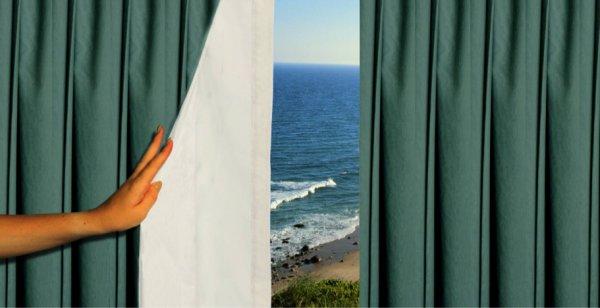 Ткань для штор блэкаут, светлая наружная сторона отражает солнечные лучи.