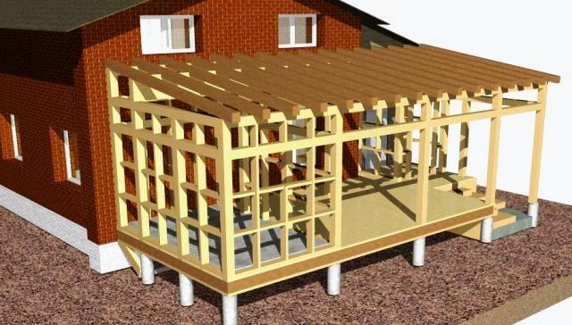 Установка односкатной крыши