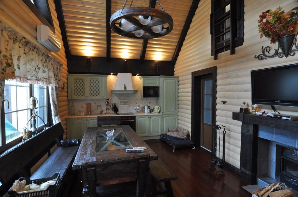 Вагонка блок-хаус в отделке гостевой комнаты