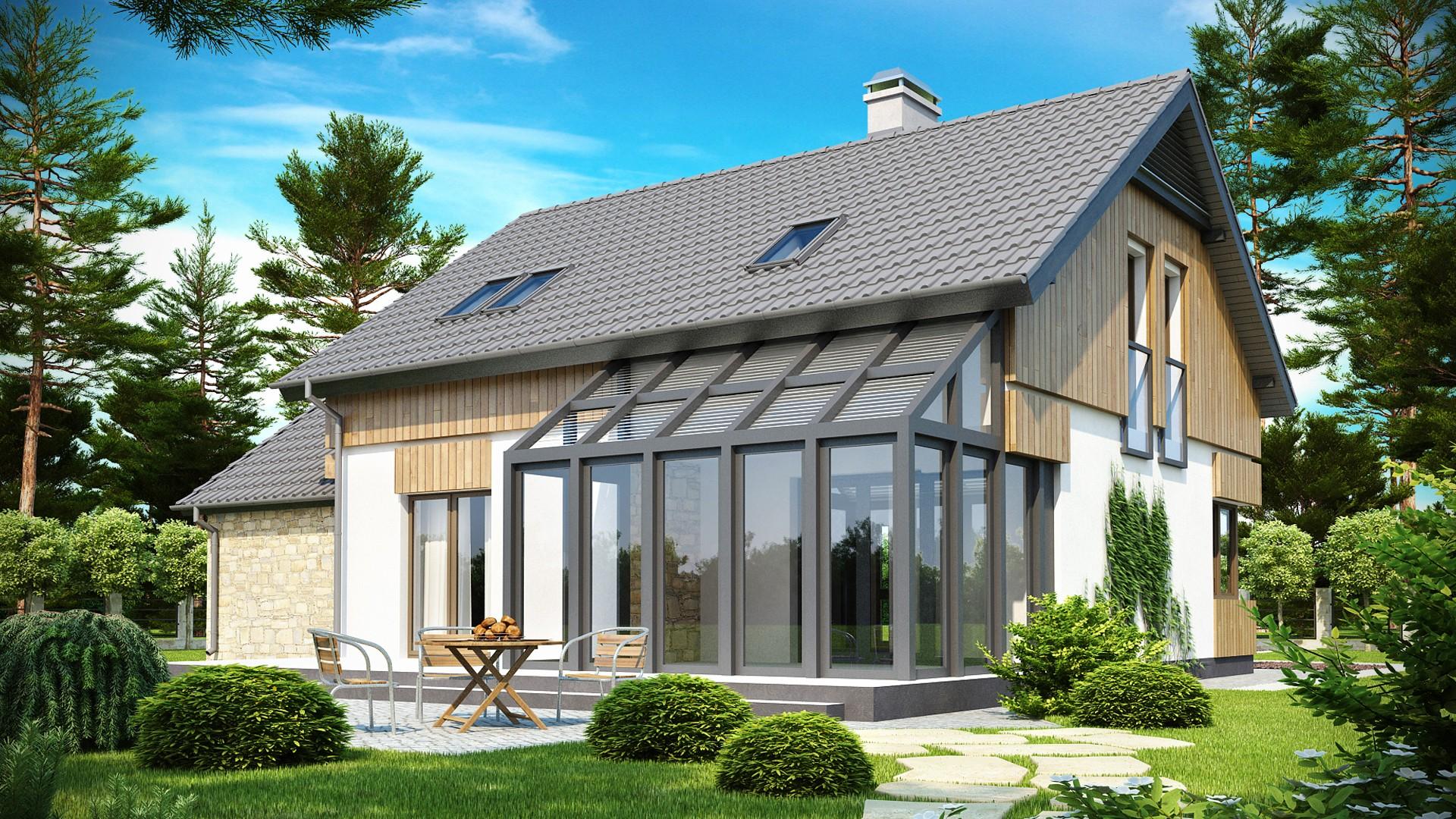 Проект дома с застеклённой террасой dom4m беларусь архитекту.