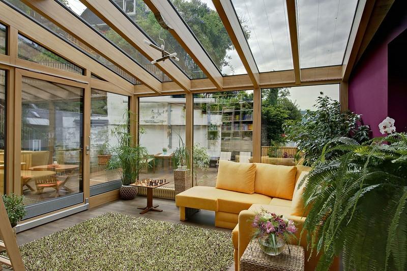 Веранда со стеклянной крышей
