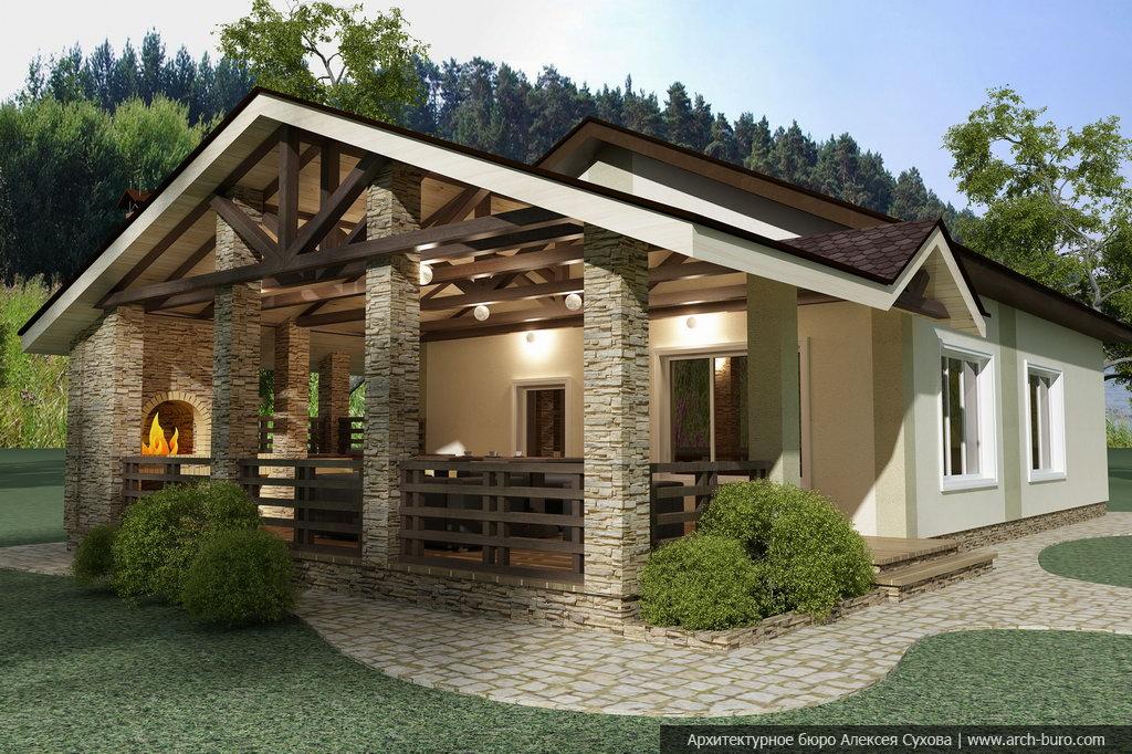 Одноэтажная баня с террасой