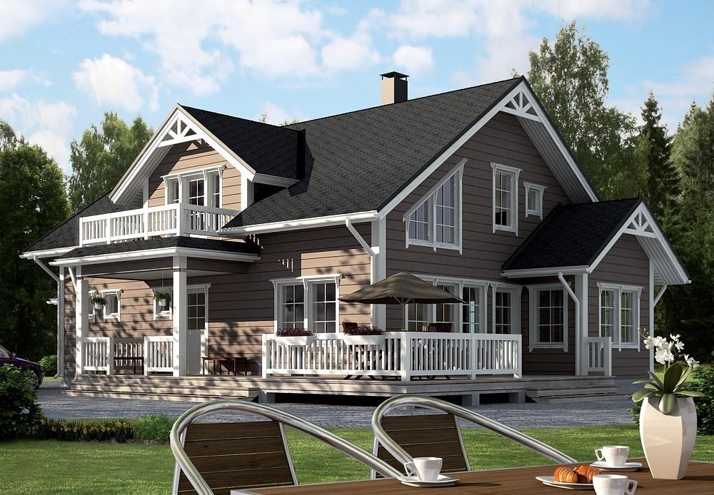 Дом с террасой и балконом, примыкающим к мезонину