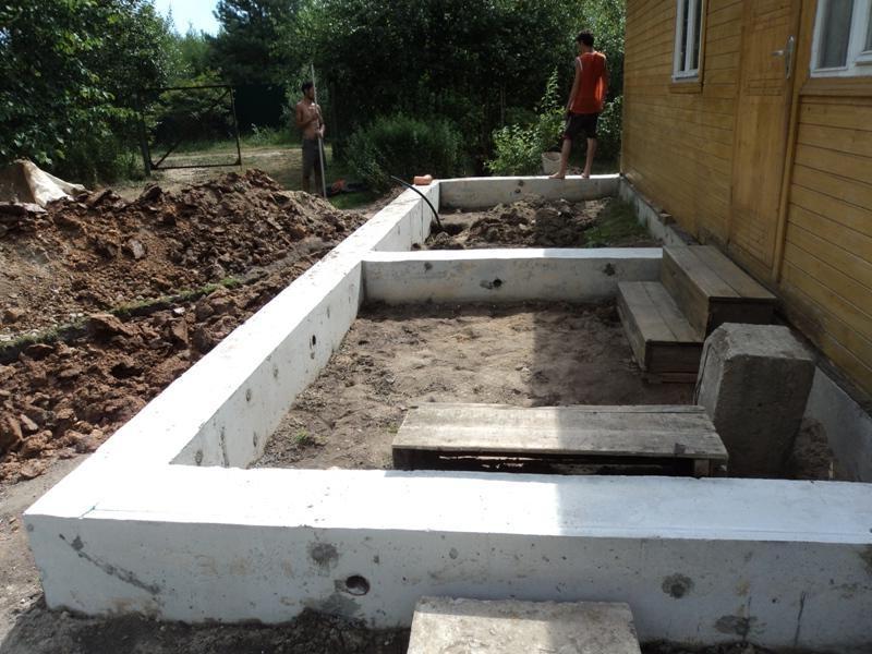 Пристройка террасы к дому на ленточном фундаменте