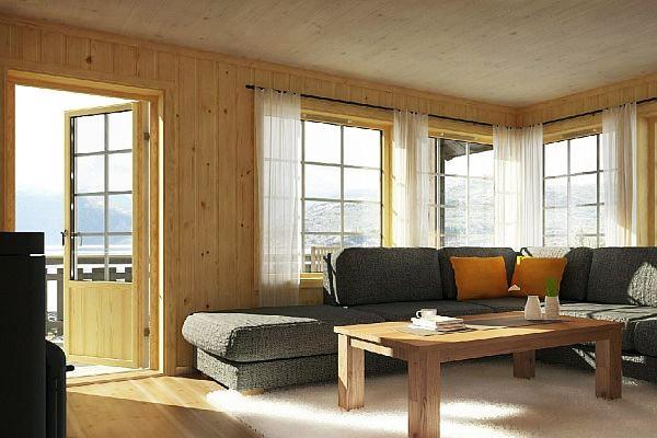 Теплая веранда с большими окнами.