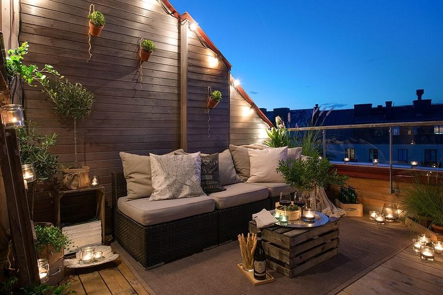Уютная терраса на плоской крыше