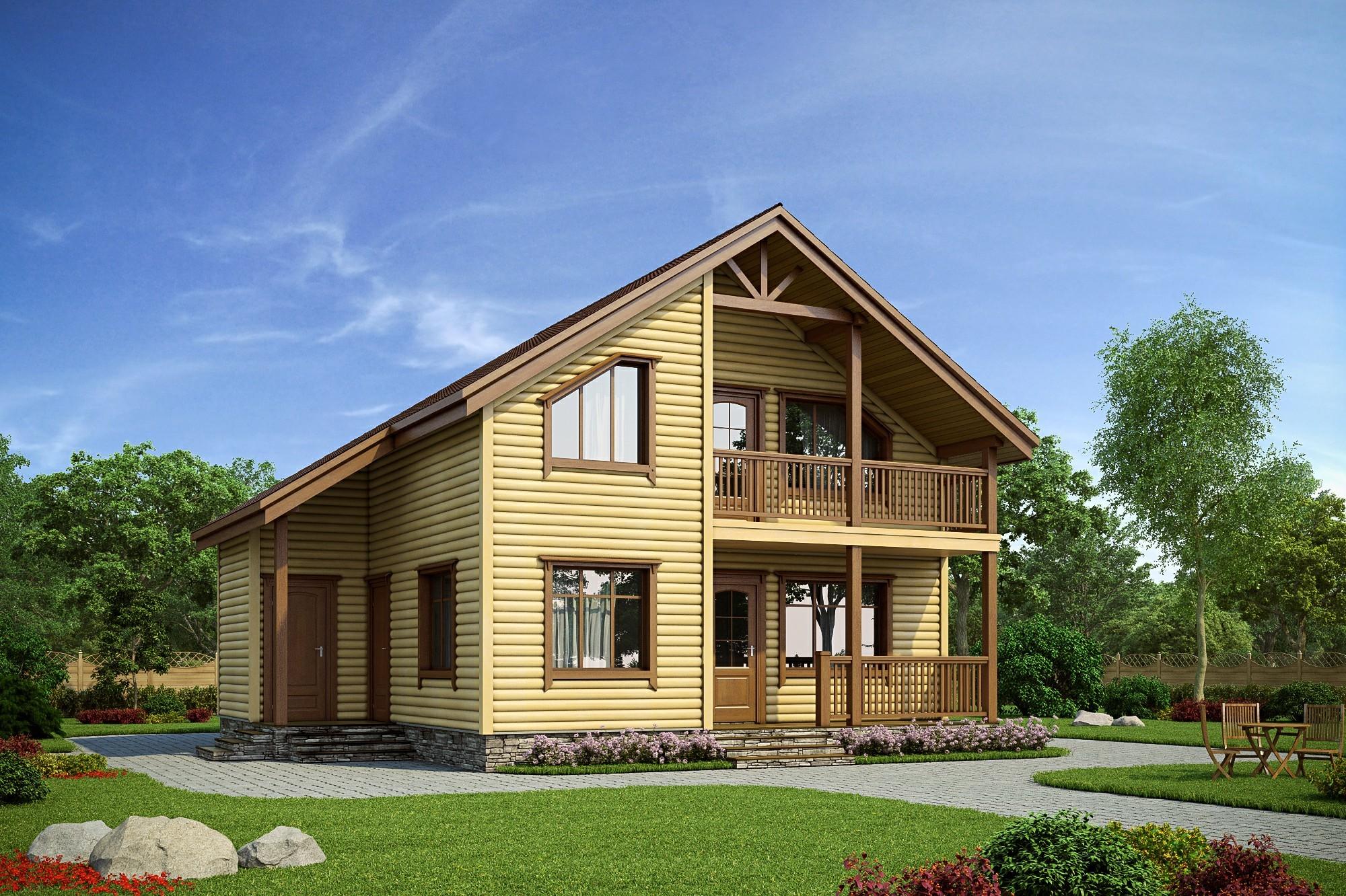 Каркасный дом с террасой и балконом.