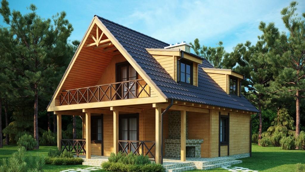 Проектируемый брусовый дом с террасой в двух уровнях
