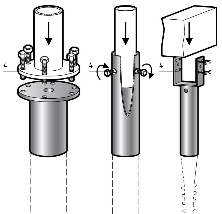Варианты креплений вертикальных стоек к оголовкам свай