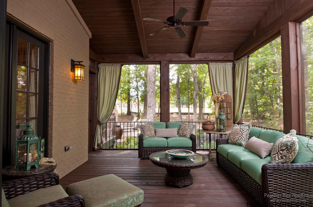Дизайн закрытой террасы на даче фото