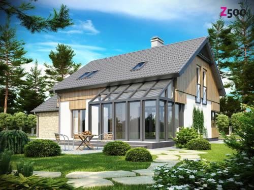 Проект дома с мансардой, с верандой, и террасой
