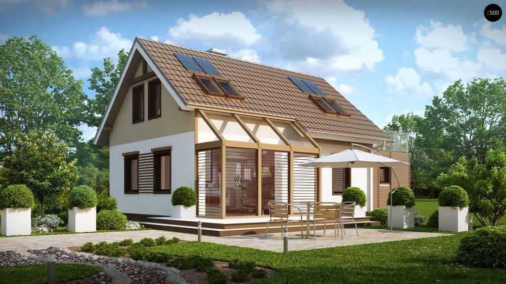 Проекты домов с верандой и террасой: веранда у входа, терраса на крыше гаража