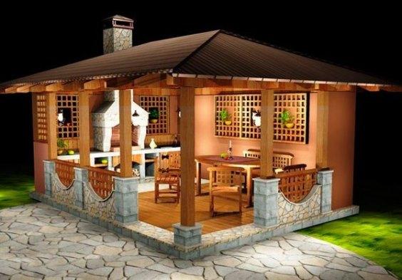 На уютной веранде приятно и отдохнуть, и гостей шашлыком угостить.