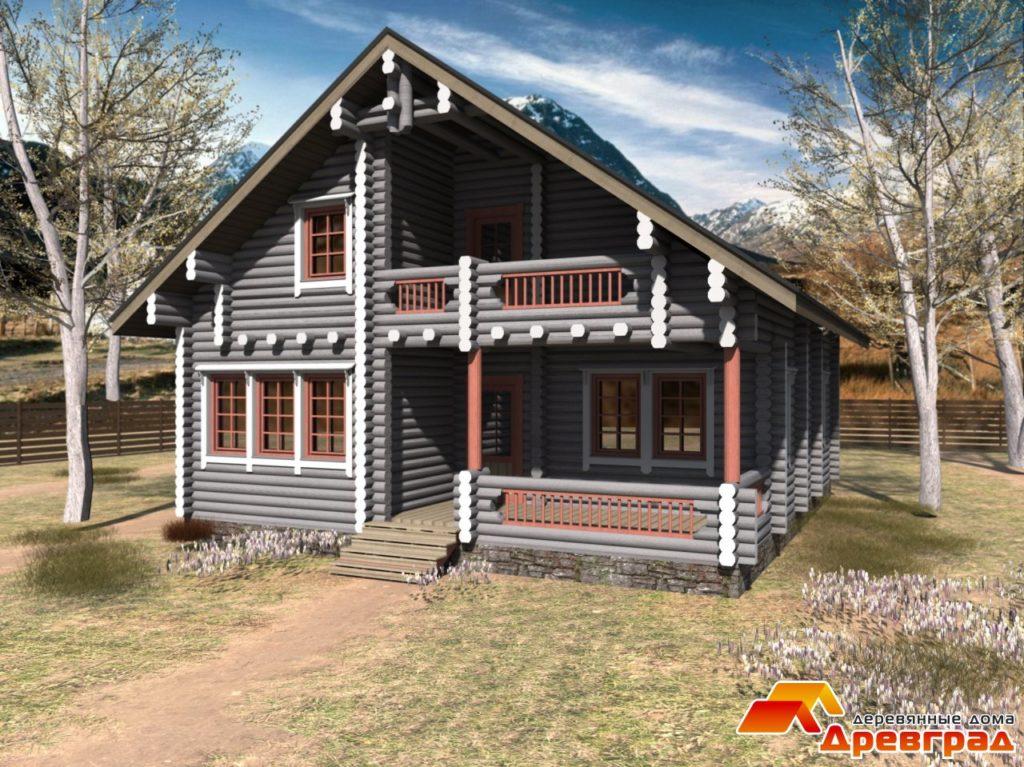 Деревянный дом с террасой и балконом