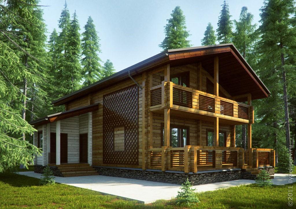 Веранда к деревянному дому, построенному из бруса