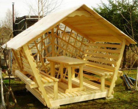 Простые и удобные деревянные беседки своими руками на дачи.