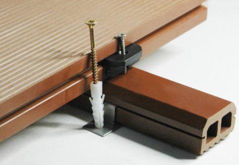 Схема установки крепежа для ДПК лаг и досок