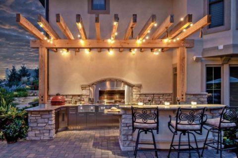 Освещение летней кухни при помощи светодиодных светильников