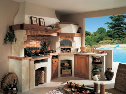 Вариант обустройства места для приготовления пищи в виде печи