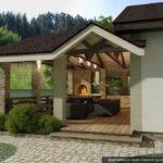 На такой уютной веранде, пристроенной к кирпичной бане, можно принимать гостей