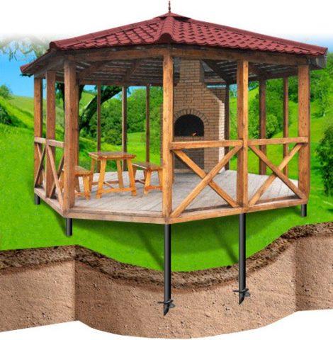 Деревянные беседки, как построить конструкцию на сваях