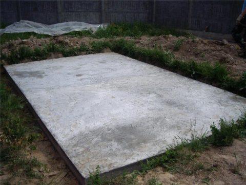 Готовый плитный фундамент для беседки