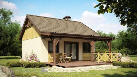 Одноэтажный дом с террасой: проект