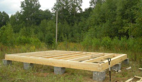 Основание деревянного каркаса на столбчатом фундаменте