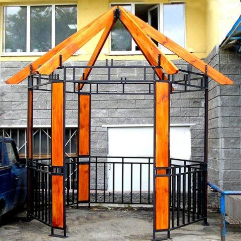 Изготовим металлическую беседку: каркас крыши также может изготавливаться из дерева