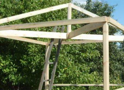 Установите опору и стропила на крышу