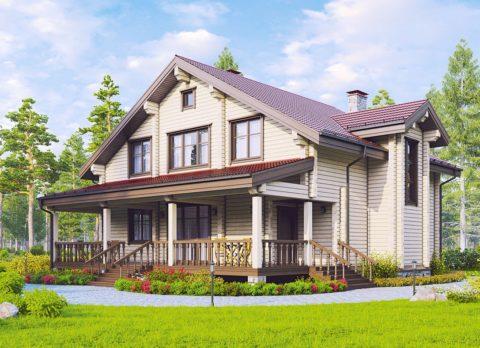 Большой дом с верандой или террасой смотрится более интересно и презентабельно