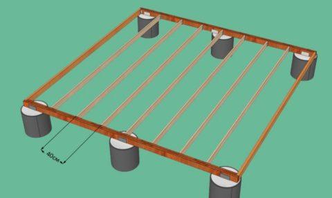 Эскиз должен показывать расположение опор фундамента, форму террасы и шаг балок